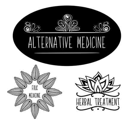 medicina: elementos tipográficos a mano esbozado para los anuncios, de letreros, embalaje y diseños de identidad y de la tela.