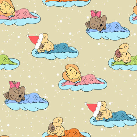 girl sleep: A cartoon illustration of seamless pattern hand drawing of a sleeping babies. Suitable for interior design baby room or bed linen. Illustration