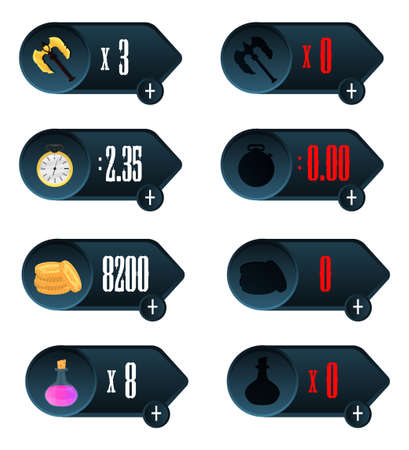 time is money: Game UI. Icons with a choice of various parameters of time, money, weapons and drug design for mobile and browser-based online applications and games.