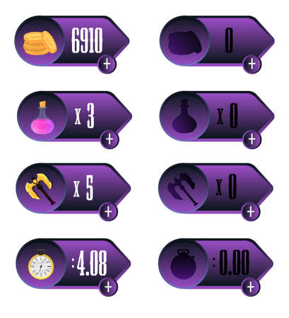 elixir: Game UI. Icons with a choice of various parameters of time, money, weapons and elixir design for mobile and browser-based online applications and games.