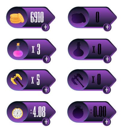 elixir: IU juego. Los iconos con una selecci�n de varios par�metros de tiempo, dinero, armas y dise�o elixir para aplicaciones m�viles y juegos en l�nea y basados ??en el navegador.