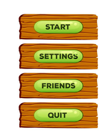 menu buttons: Wooden cartoon panels for online game UI and browser applications with menu buttons. Illustration