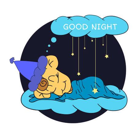 buonanotte: Illustrazione del fumetto di disegno a mano bambino addormentato che desiderano buona notte nel cielo stellato.