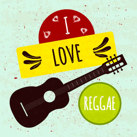 reggae: Juicy affiche typographic coloré avec guitare instrument de musique sur un fond clair avec une texture. J'aime le reggae style jamaïcain.