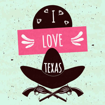 Juicy colorful typographic poster with the attributes of the state of Texas America\'s hat and arms on a light background with a texture. I love Texas.