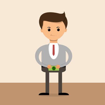 salaries: Business concept in flat design. Businessman get Salary. Illustration