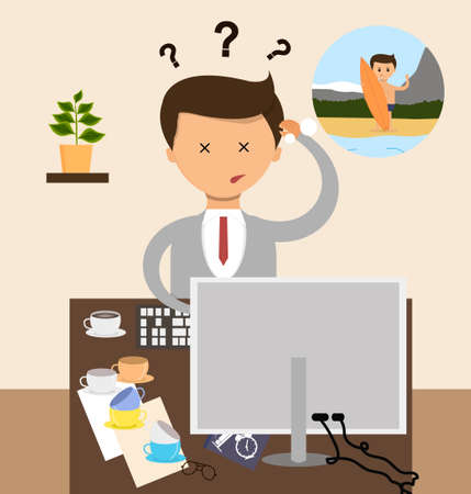 dream: Business concept in flat design. Businessman Sitting in the office at the workplace dream about holidays. Illustration