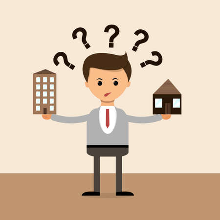 question concept: Business concept in flat design. Businessman in The question of choice between the house and the apartment, the village and the town.
