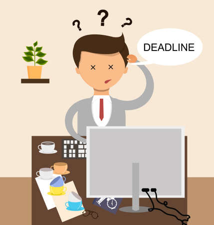 not ready: Business concept in flat design. Businessman in The deadline and the work is not ready