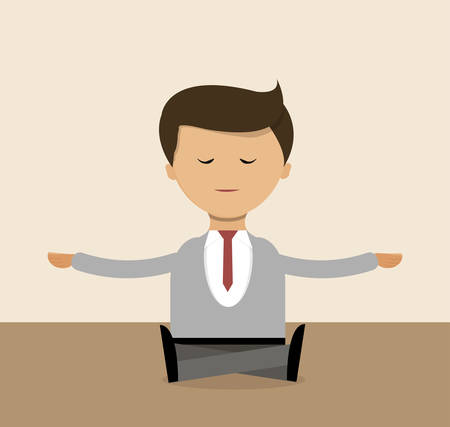 envelop: Business concept in flat design. Businessman doing yoga right in the office, meditation.