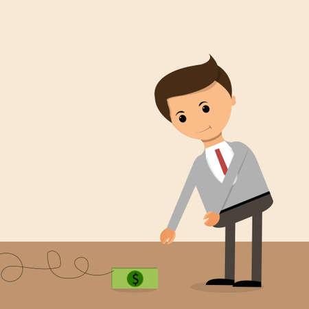 Koncepcja biznesowa w płaskim stylu. Wynagrodzenie jako przynęta, Biznesmen zahaczony od początku i systemu.