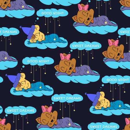 sleeping child: A cartoon illustration of seamless pattern hand drawing of a smiling stars and a sleeping child. Suitable for interior design baby room or bed linen.