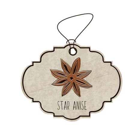 illustrazione disegnata a mano dalla collezione di spezie ed erbe aromatiche. La vecchia etichetta in stile retrò con coloratissimi anice stellato fragrante.