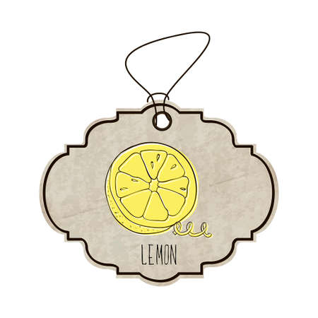 fragrant: Hand drawn illustration from the collection of spices and herbs. The old label in retro style with colorful fragrant lemon.