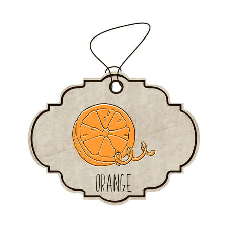 fragrant: Hand drawn illustration from the collection of spices and herbs. The old label in retro style with colorful fragrant orange.