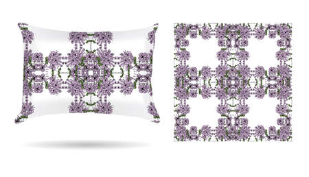 white pillow: Decorative pillow with floral patterned pillowcase in an elegant, gentle style on a white background. Isolated on white. Interior design element.