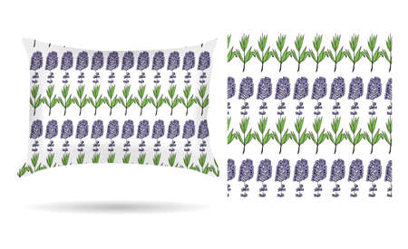 pillow case: Decorative pillow with lavender flowers patterned pillowcase in an elegant, gentle style on a white background. Isolated on white.