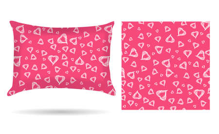 Decorative pillow with hearts pillowcase in an elegant, gentle style on a pink background. Isolated on white.