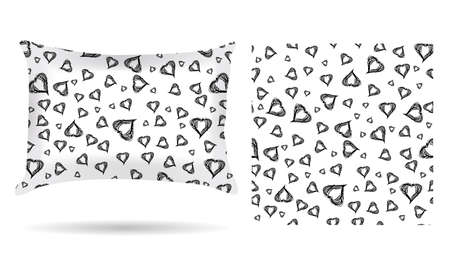 white pillow: Decorative pillow with hearts pillowcase in an elegant, gentle style on a white background. Isolated on white.