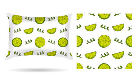 white pillow: Decorative pillow with pillowcase lemons in an elegant, gentle style on a white background. Isolated on white.