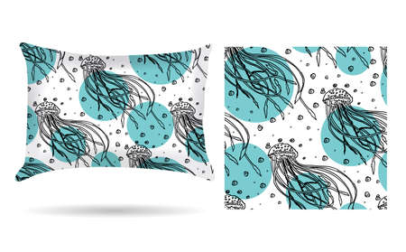 Decorative pillow with jellyfish pillowcase in an elegant, gentle style on a white background. Isolated on white.