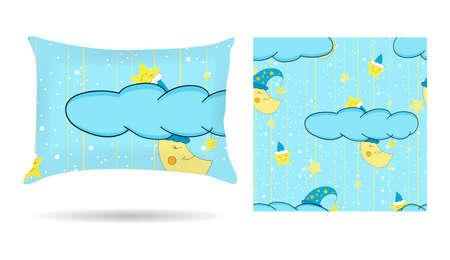 Los niños lindos de almohada decorativa con una funda de almohada con dibujos de fondo azul estilo de dibujos animados. Aislado en blanco. Ilustración de vector