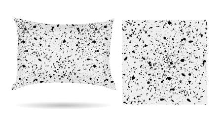 white pillow: Decorative pillow with blots of ink hand drawn pillowcase in an abstract style on a white background.