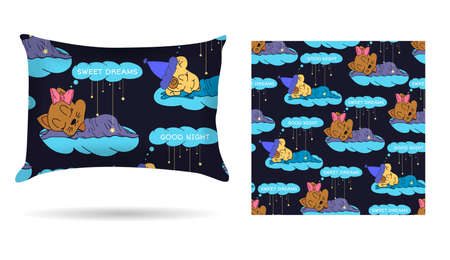 sleepover: Cute children Decorative pillow with patterned pillowcase in cartoon style children are sleeping on the clouds. Isolated on white. Illustration