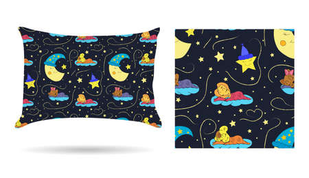 sheets: Cute children Decorative pillow with patterned pillowcase in cartoon style children are sleeping on the clouds in the beautiful night sky. Isolated on white.