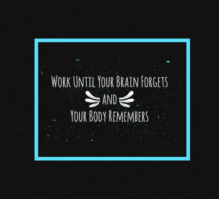 morale: Motivational Quote Typographical poster on a black background with drops of colored paint in a decorative blue frame to lift the mood and morale. Illustration