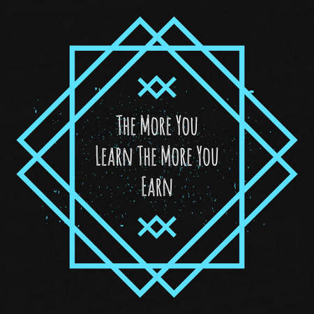morale: Motivational Quote Typographical poster on a black background with drops of colored paint in a decorative blue geometric frame to lift the mood and morale. Illustration