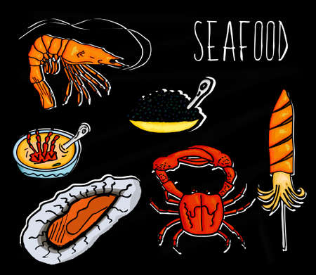 crab meat: Hand drawn illustration from the collection of seafood. The old school blackboard with colorful colorful marine animals. Illustration