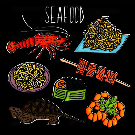 Hand drawn illustration from the collection of seafood. The old school blackboard with colorful colorful sea creatures and dishes from them.