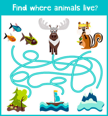 way out: Fun and colorful puzzle game for childrens development find where a deer, striped Chipmunk and fish. Training mazes for preschool education.
