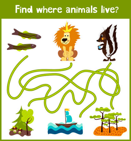 skunk: Fun and colorful puzzle game for childrens development find where fish, skunk and the lion the king of beasts. Training mazes for preschool education.