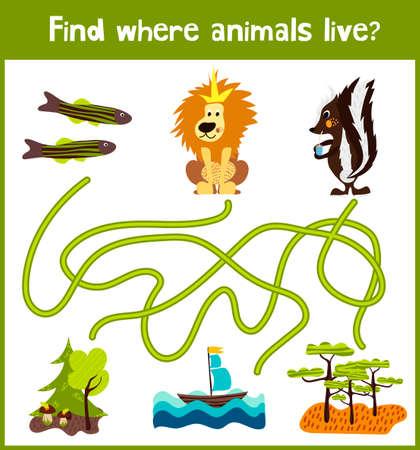 zorrillo: juego de puzzle divertido y colorido para el hallazgo desarrollo de los niños, donde los peces, mofeta y el león el rey de los animales. La formación de laberintos para la educación preescolar.