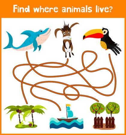 Brillante juego de rompecabezas de dibujos animados educativos para los niños de edad preescolar y escolar edades. Dónde encontrar lo que viven los animales tiburón mar, burro casera y Toucan aves.