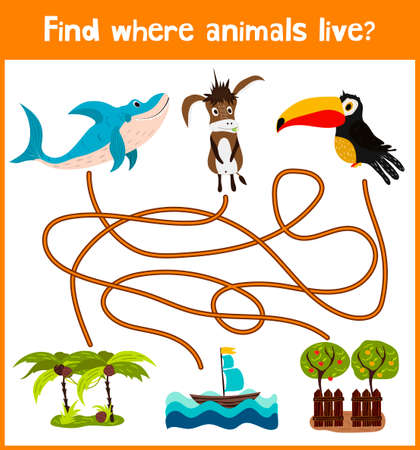 burro: Brillante juego de rompecabezas de dibujos animados educativos para los ni�os de edad preescolar y escolar edades. D�nde encontrar lo que viven los animales tibur�n mar, burro casera y Toucan aves.