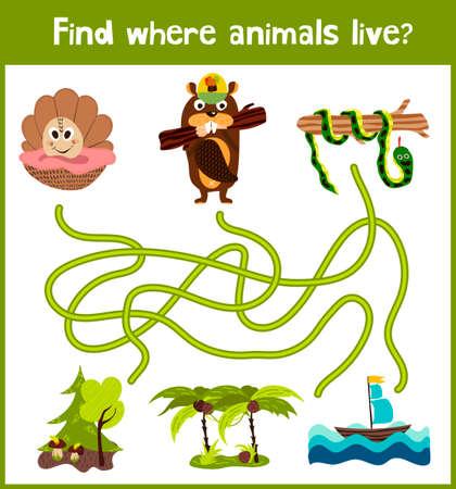 serpiente caricatura: Brillante juego de rompecabezas de dibujos animados educativos para los niños de edad preescolar y escolar edades. Dónde encontrar lo que los animales viven concha marina, castor bosques tropicales y la serpiente Anaconda.