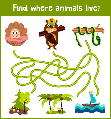 Bright cartoon educational puzzle game for children of preschool and school ages. Where to find what animals live seashell, beaver forest and tropical snake Anaconda. Illustration
