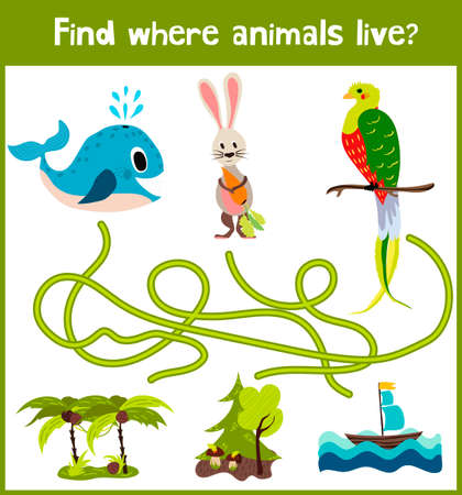 Brillante juego de rompecabezas de dibujos animados educativos para los niños de edad preescolar y escolar edades. Dónde encontrar lo que los animales viven en la ballena mar, el bosque Bunny, y un pájaro de los trópicos.
