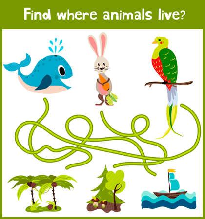 Helder cartoon educatief puzzelspel voor kinderen van kleuterscholen en schoolleeftijden. Waar te vinden welke dieren leven in de zee walvis, bos konijn, en een vogel uit de tropen.