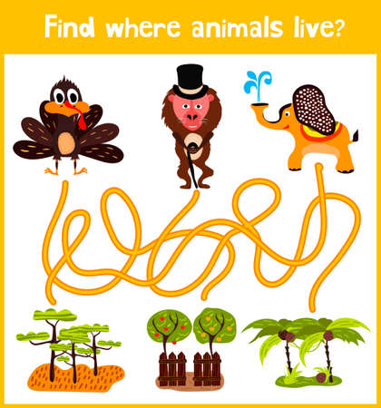 Fun and colorful puzzle game for childrens development find where a monkey, an elephant and a Turkey. Training mazes for preschoolers.