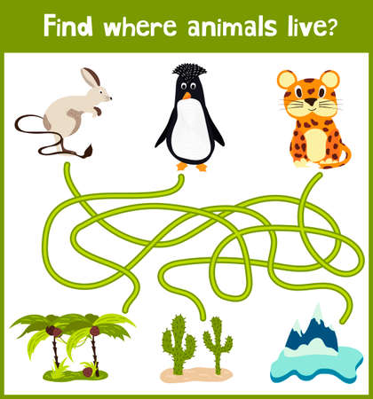 preschoolers: Fun and colorful puzzle game for childrens development find where a penguin, a camel and a Jaguar. Training mazes for preschoolers.