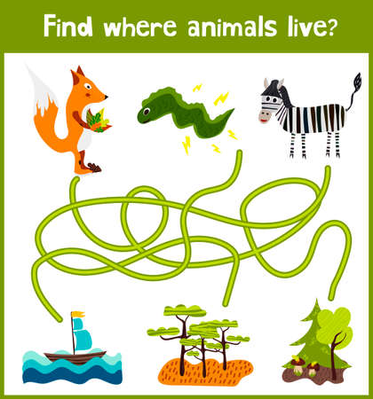 preschoolers: Fun and colorful puzzle game for childrens development find where a Zebra, a Fox and an electric eel. Training mazes for preschoolers.