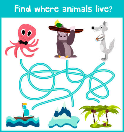 preschoolers: Fun and colorful puzzle game for childrens development find where live octopus, gorilla and polar wolf. Training mazes for preschoolers.