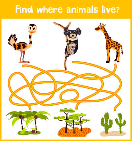 mind games: Fun and colorful puzzle game for childrens development find where a monkey, a giraffe and the Australian EMU. Training mazes for preschool education.
