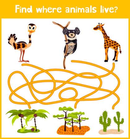 giraffe: juego de puzzle divertido y colorido para el desarrollo de los ni�os, donde se encontr� un mono, una jirafa y la UEM australiano. La formaci�n de laberintos para la educaci�n preescolar. Vectores