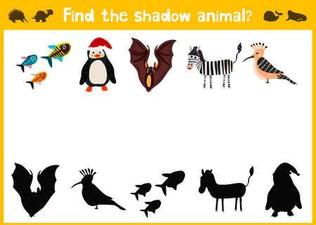 matching: Cartoon Illustration of Education Shadow Matching Game for Preschool Children find shade for the animals