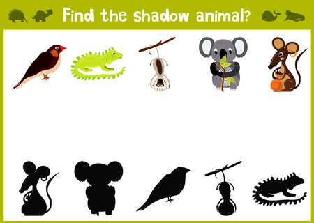 matching: Cartoon Illustration of Education Shadow Matching Game for Preschool Children find shade for cute animals. Illustration